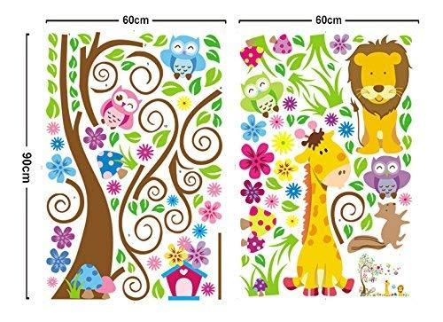 ufengke® Albero Fiore Colorato Simpatici Gufi Leone Cervo Adesivi Murali, Camera dei Bambini Vivai Adesivi da Parete Removibili/Stickers Murali/Decorazione Murale - 1