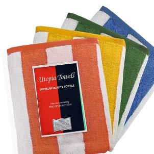 Utopia Towels - Asciugamano da piscina grande con asciugamano da spiaggia in Cabana Stripe, 4-pack, 100% cotone, facile da pulire, massima morbidezza e assorbenza (76 x 152 Centimetro) (Varieta) - 1