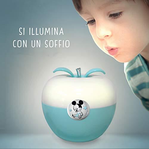 Valenti & Co - Disney Topolino - Luce Notturna Bambini con Lampada LED Colorata per Cromoterapia da Comodino, Comandi Magici con il Soffio e Finiture in Argento     - 1