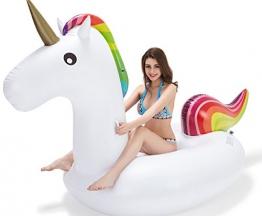 Vickea Unicorno Gigante Galleggiante per Festa in Piscina, Gommone Gonfiabile, Gonfiabile Gigante Unicorno Giocattoli Galleggianti per Feste con Valvole Rapide - 1