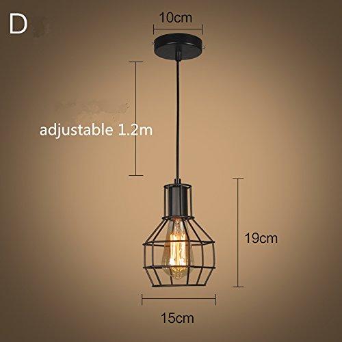 Vintage Industriale Edison Gabbia Di Metallo Paralume Da Soffitto Loft Bar Retro Lampada A Sospensione Nero - 1
