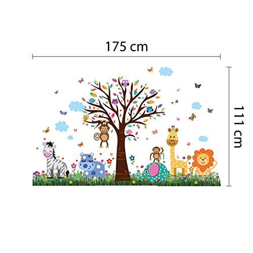 """wallflexi decalcomanie da parete rimovibile adesivi murali """"Happy Zoo e farfalle, erba autoadesiva, nursery Kindergarden scuola bambini, baby room decoration, multicolore - 1"""