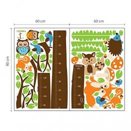Walplus AY221 - Adesivo da parete con metro per bambini, motivo: albero con volpi, multicolore - 1