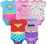 Warner Bros. Body Bimba Justice League - Wonder Woman, Batgirl e SuperGirl (Pacco da 5), Multicolore 6-9 Mesi - 1