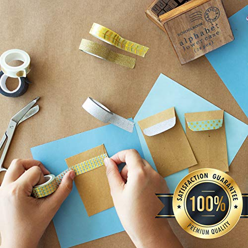Washi Tape Set - 20 Rotoli di Nastro Adesivo Decorativo Colorato, Glitterato, Floreale e Brillante - Tapes per Decorare Agende, Scrapbook, Album Foto e Progetti Artistici - MozArt Supplies - 1