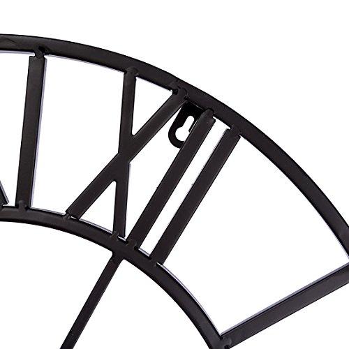 Winni43Julian 50CM Orologio da Muro Grande Orologio da Muro Vintage Orologio da Parete Silenzioso Metallo Orologio da Muro Design Orologio da Parete Shabby (Nero) - 1