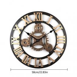 Winni43Julian 58CM Orologio da Parete Grande Orologio da Muro Vintage Orologio da Parete Silenzioso Orologio da Muro Design Moderno Orologio da Parete Legno (Golden 2) - 1