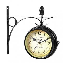 WINOMO Orologio da parete bifacciale creativo classico orologi di stile europeo monocromatico (nero) - 1