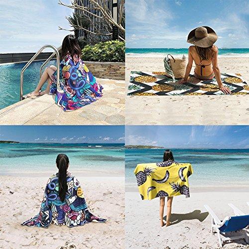WLZP Asciugamano in Microfibra da Spiaggia, Coperta da Viaggio Asciugatura Rapida - 30x57 Miglior Asciugamano Grande e Leggero per Palestra, Nuoto, Viaggi, Spiaggia - Regalo Custodia Impermeabile - 1