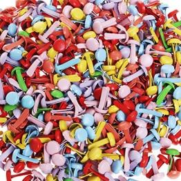 Wowot - 500 mini fermacampioni, testa rotonda, per carta, album, progetti creativi, multicolore (colore casuale) - 1