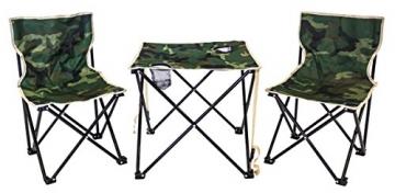 XONE Set POLTRONE Pieghevoli E TAVOLINO con Borsa da Trasporto Fantasia Mimetica   Tavolo Sedie Set da Campeggio Pieghevole Verde Militare in Sacca da Trasporto - 1