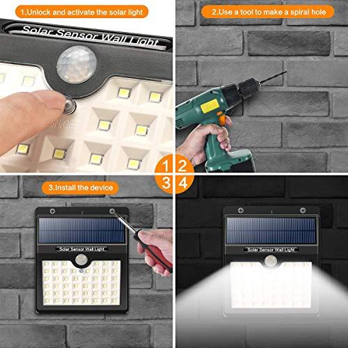 Yacikos Luce Solare Esterno, 46 LED 1800 mAh Lampada Solare con Sensore di Movimento Luci Solari Impermeabile 3 Modalità Luci Solari Wireless di Sicurezza Illuminazione Esterno per Giardino [4 Pezzi] - 1