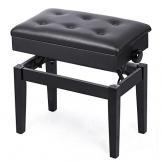 Yaheetech Panchetta Panca imbottita per pianoforte tastiera Sgabello Regolabile in Altezza 48-58 cm Panca portaoggetti nera, Capacità di carico 150 kg - 1