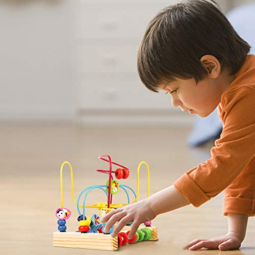 yoptote Giochi di Bead Maze in Legno Giochi Educativi Roller Coaster Animale Puzzle Giocattoli con 40 Pezzi Beads per Bambini 3 4 5 6 Anni - 1