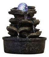 Zen Light - Fontana a Forma di Roccia, in poliresina, Colore: Marrone Scuro, 20x 20x 23cm - 1