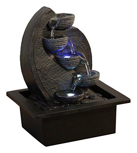 Zen'Light, Cascata-V2 Fontana poliresina, Colore: Grigio/Nero 17x 21x 26cm - 1