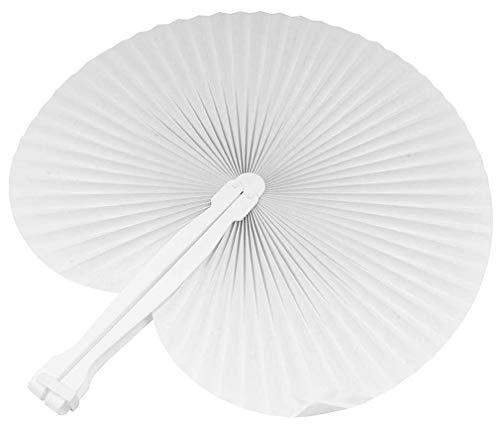 100 pezzi ventagli ventaglio da borsetta matrimonio segnaposto bomboniera wedding manico in plastica e chiusura a gancio 7 colori (bianco) - 1