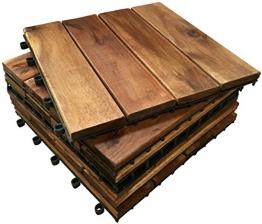 18x extra spessa, in legno 4stecche mattonelle, piastrelle in legno massiccio di acacia. patio, giardino, balcone, vasca idromassaggio. 30cm Square Deck tile - 1