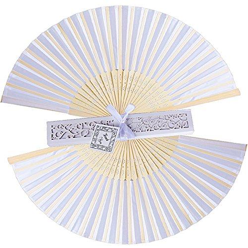 20 pz Ventaglio Pieghevole Bianco Bambu e Tessuto con Scatoline Bianco Segnaposto Bomboniere per Nozze Festa Matrimonio - 1