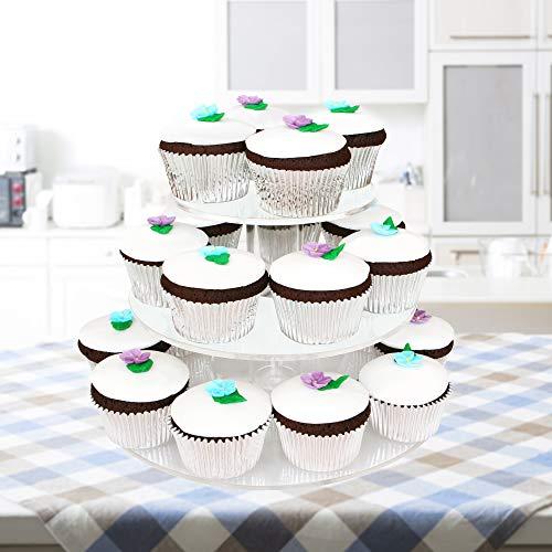 4-Tier Alzata da Esposizione in Acrilico per Cupcake - Elegante, Transparente Cupcake Stand - Espositore per Cupcakes Dolci Muffin Frutta Torte - Alta Qualità e Resistente| Feste Matrimoni Compleanni - 1