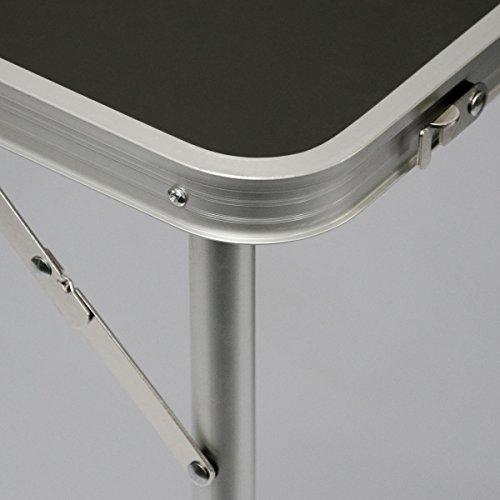 AMANKA Tavolino da pic-nic 90x60x70cm Tavolo da campeggio in alluminio altezza regolabile pieghevole formato valigia Grigio Scuro - 1