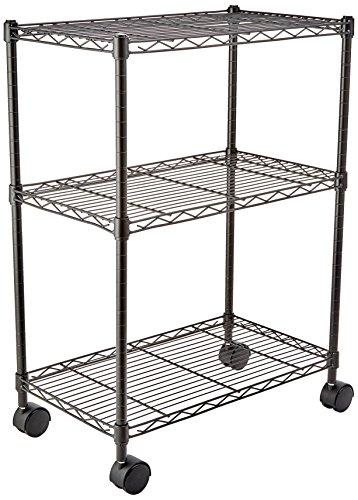 AmazonBasics - Scaffalatura a 3 ripiani, su rotelle, Nero - 1