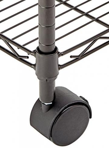 AmazonBasics - Scaffalatura a 3 ripiani, su rotelle, Nero - 7