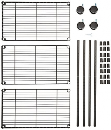 AmazonBasics - Scaffalatura a 3 ripiani, su rotelle, Nero - 8