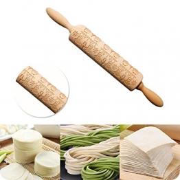 Amosfun Mattarello in Legno di Pasqua per Biscotti Dolci Pasta da Cucina con Motivo Pulcini - 1