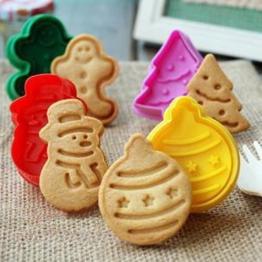 Anokay set 10 pz Formine ad Esplsuesione per Biscotti Bianco per Decorazioni Biscotti Decorazioni in Forma di Fiocchi ,Bambolotto , Babbo Natale , Albero di Natale - 1