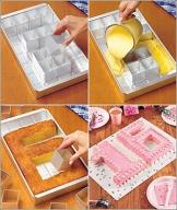 Anokay Teglia Rettangolare / Tortiera con 12 Scatoline Rimovibili per Fare Torte in Qualsiasi Numero e Lettera / Composizione Tipografica Libera - Fai da Te - 1