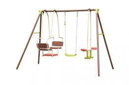 AVANTI TRENDSTORE–Altalena in Metallo, Colore: Marrone, 3Diverse altalene cubico, ca. 270x 195x 155cm - 1