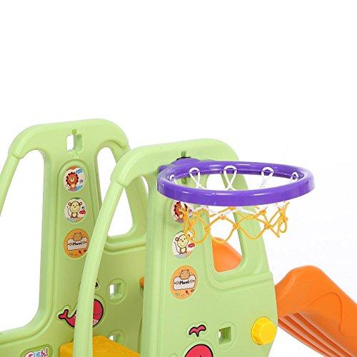 Baby Vivo Scivolo per Bambini Bimbi Giardino Esterni Interno Parco da Plastica Struttura per Arrampicarsi con scivolo in Arancio/Verde - 1