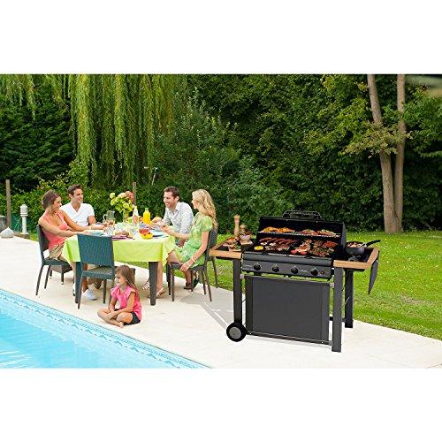 Campingaz Barbecue a Gas Adelaide 4 Classic Deluxe Extra con 4 Bruciatori in Ghisa, Potenza di 21 kW, Griglia e Piastra in Ghisa, 2 Ripiani Laterali - 1