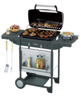 Campingaz Barbecue Gas Texas Revolution, BBQ Gas per Pietre Laviche, Grill Barbecue a Gas Compatto con 2 Bruciatore, Potenza 8.2 kW, Griglie in Ghisa, 2 Tavoli a Lato e Carrello in Acciaio - 1