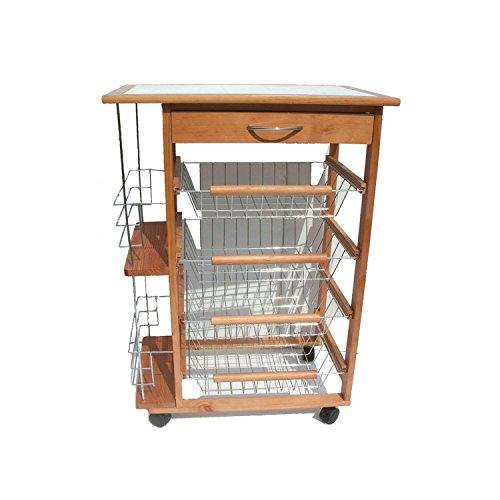 carrello da cucina portabottiglie in legno naturale 4 cassetti portafrutta 37 x 57 x 83h - 1