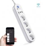 Ciabatta Multipresa, Houzetek Multipresa Ciabatta Elettrica con protezione Supporta Alexa / Google Home/ IFTTT, Con 4 Prese Polivalenti e 3 Prese Usb,2.4G Wifi. - 1