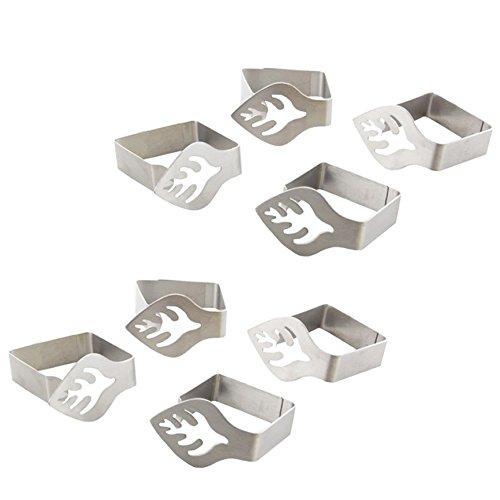 COM-FOUR® 8x morsetti in acciaio inox con decorazioni (08 pezzi/foglio) - 1