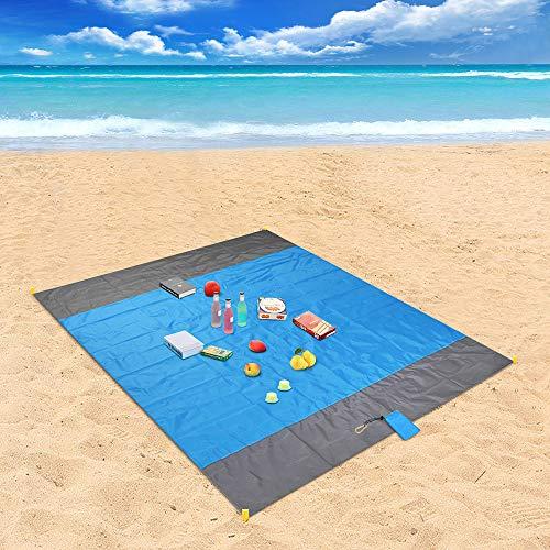 Coperta da Spiaggia, laxikoo Coperta da Picnic Anti Sabbia 210x200 Portatile Impermeabile Coperta Tascabile con Reticule e 4 Picchetti Fixed per Picnic, Spiaggia, Escursionismo, Campeggio e Altro - 1