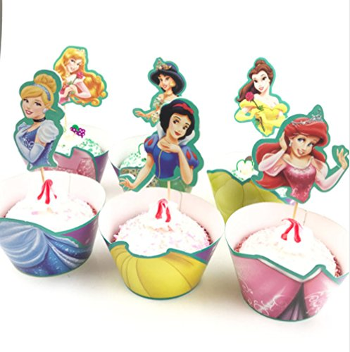 CUP CAKES 12x Princess Kids Birthday party cake topper per cupcake Wrapper & - 1
