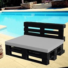 Cuscino per Bancale - Cuscino per Seduta Divano Pallet di legno - in morbido tessuto - 80x120 40x120 (GRIGIO, 80X120X8 SEDUTA) - 1