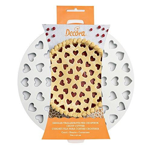 DECORA 0215801 Griglia Tagliapasta per Crostate Cuori, Bianco - 1