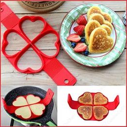 ✮ CuisineDuChef ✮ Set di 2 stampi in silicone | Forme originali: cuore e tondo | Stampo antiaderente per crepes, pancakes, uova, blinis | Cottura facile e veloce dei vostri dolci - 1