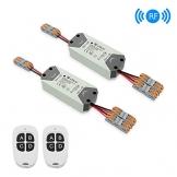 eMylo Smart Wireless RF Relay Switch DC 12V 2 canali Telecomando Switch 5V-24V Modulo relè RF Domotica 433Mhz con due trasmettitori 2 pacco - 1