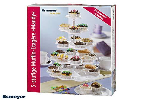 Esmeyer Mandy - Alzata per muffin a 5 piani Mandy in plastica bianca, alzata a cinque piani per 27 muffin - 1