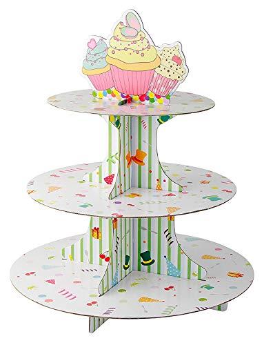 Fackelmann Alzata 3 Livelli in Cartone per Cupcake/Muffin, Carta, Multicolore - 1