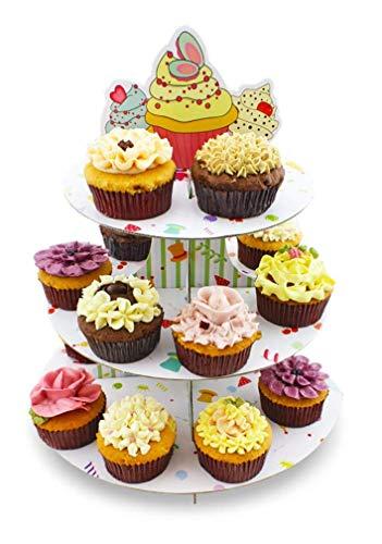 Fackelmann Alzata 3 Livelli in Cartone per Cupcake/Muffin, Carta, Multicolore - 2