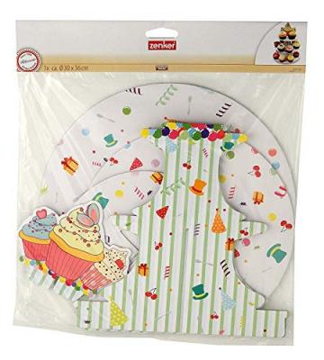 Fackelmann Alzata 3 Livelli in Cartone per Cupcake/Muffin, Carta, Multicolore - 3