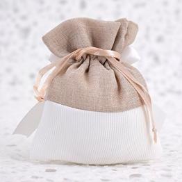 Fai da Te 20 Sacchetti Porta Confetti Bianchi con Rosa in Gesso - per Battesimo - Comunione - Cresima - 18 Anni - Compleanno (Beige) - Bigliettini Personalizzabili Omaggio - 1