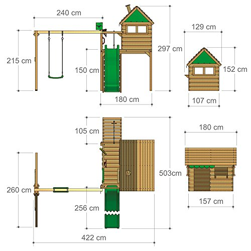 FATMOOSE parco giochi FunFactory Fit XXL casetta da gioco di legno per bambini con altalena e scivolo - 1